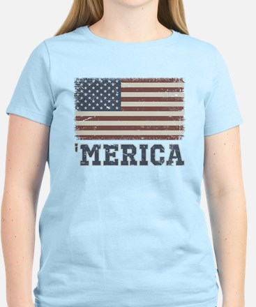 'Merica Flag Vintage Women's Light T-Shirt