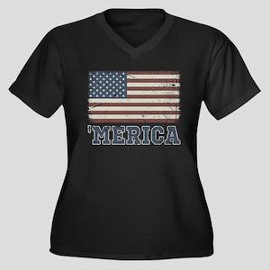 'Merica Flag Women's Plus Size V-Neck Dark T-Shirt