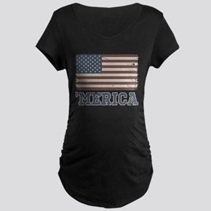 'Merica Flag Vintage Maternity Dark T-Shirt