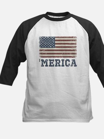 'Merica Flag Vintage Kids Baseball Jersey