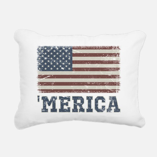 'Merica Flag Vintage Rectangular Canvas Pillow