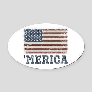 'Merica Flag Vintage Oval Car Magnet