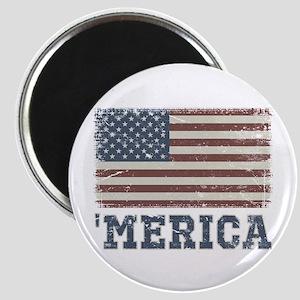 'Merica Flag Vintage Magnet