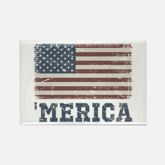'Merica Flag Vintage Rectangle Magnet