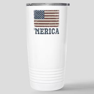'Merica Flag Vintage Stainless Steel Travel Mug