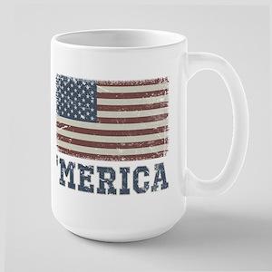 'Merica Flag Vintage Large Mug