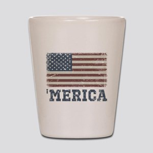 'Merica Flag Vintage Shot Glass