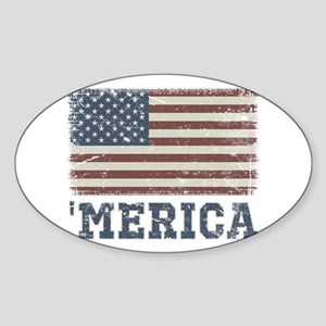 'Merica Flag Vintage Sticker (Oval)