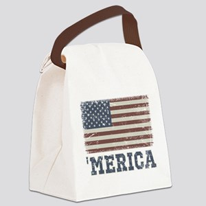 'Merica Flag Vintage Canvas Lunch Bag
