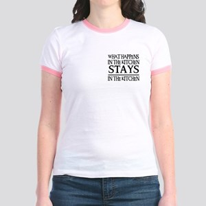 STAYS IN THE KITCHEN Jr. Ringer T-Shirt