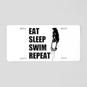 Eat Sleep Swim Repeat Aluminum License Plate