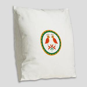 Double Distlefink Burlap Throw Pillow