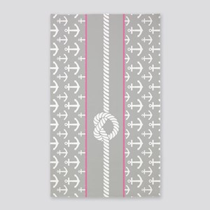 Gray and Pink Anchor Nautical Rope 3'x5' Area Rug