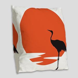 Crane bird Burlap Throw Pillow