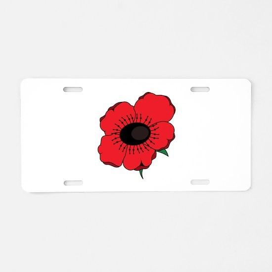 Poppy Flower Aluminum License Plate