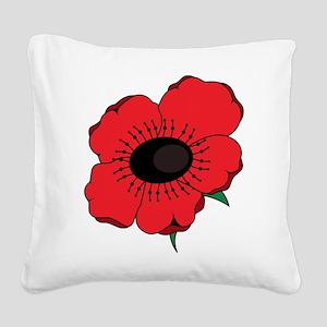 Poppy Flower Square Canvas Pillow