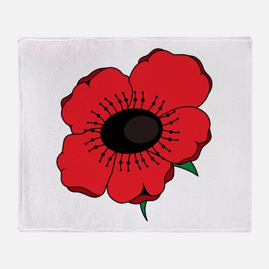 Poppy Flower Throw Blanket