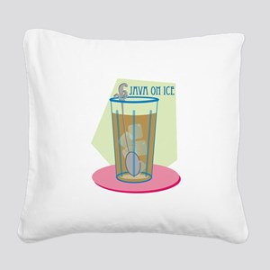 Java On Ice Square Canvas Pillow
