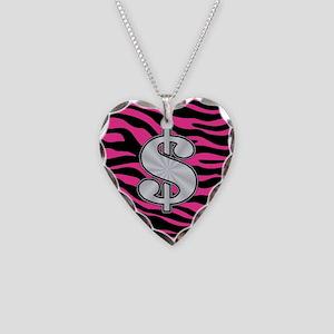 HOT PINK ZEBRA SILVER $ Necklace
