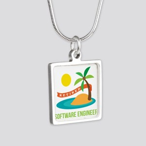 Retired Software engineer Silver Square Necklace
