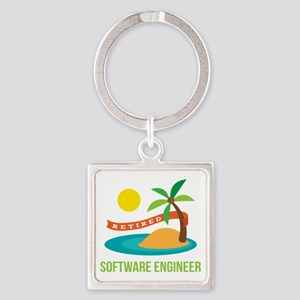 Retired Software engineer Square Keychain