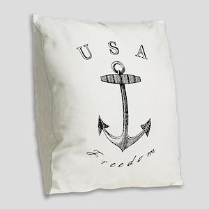 Vintage Anchor USA Freedom Burlap Throw Pillow