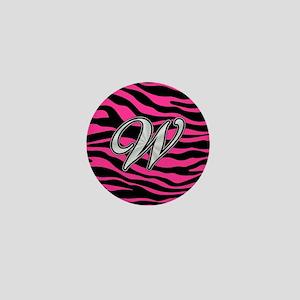 HOT PINK ZEBRA SILVER W Mini Button