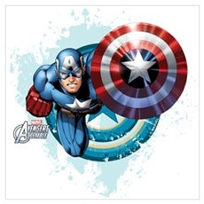 Captain America Flying Wall Art Framed Print