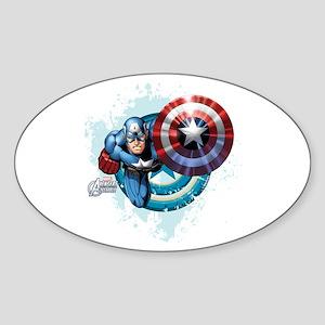 Captain America Flying Sticker (Oval)