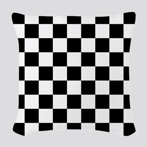 Black And White Checkered Woven Throw Pillow
