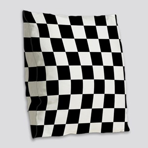Black And White Checkered Burlap Throw Pillow