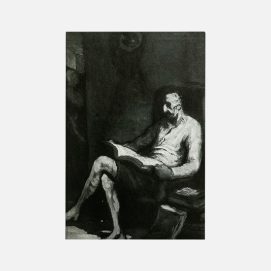 Image Of Don Quixote Reading Rectangle Magnets