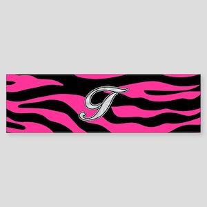 HOT PINK ZEBRA SILVER T Bumper Sticker
