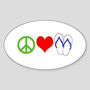 PEACE, LOVE, FLIP-FLOPS (THONGS) Sticker (Oval)