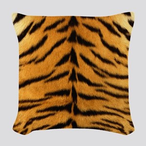Tiger Fur Print Woven Throw Pillow