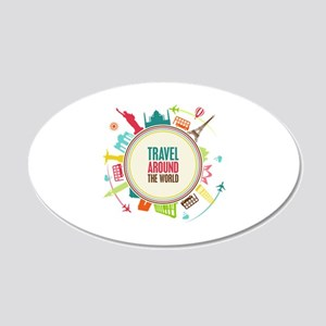Travel around the world 22x14 Oval Wall Peel