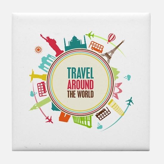Travel around the world Tile Coaster