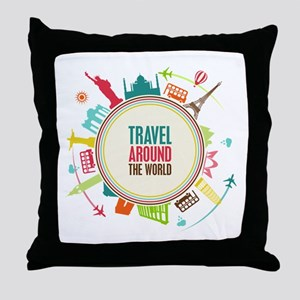 Travel around the world Throw Pillow