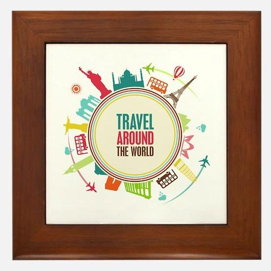 Travel around the world Framed Tile