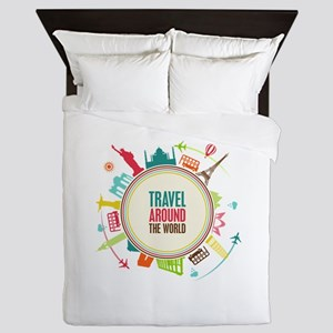 Travel around the world Queen Duvet