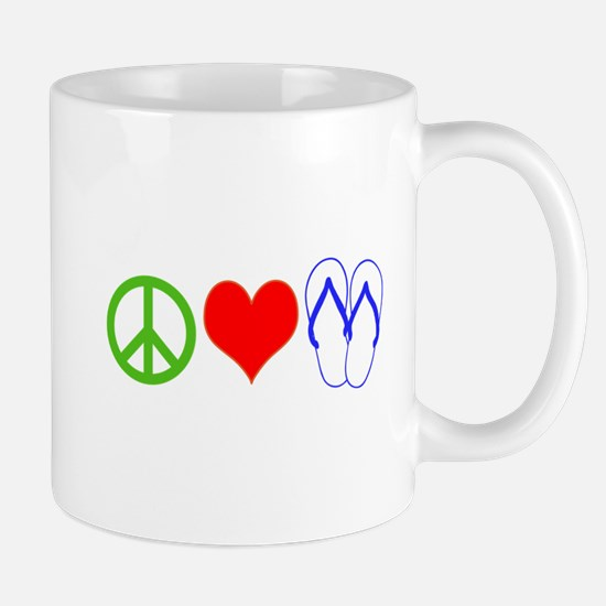 PEACE, LOVE, FLIP-FLOPS (THONGS) Mugs