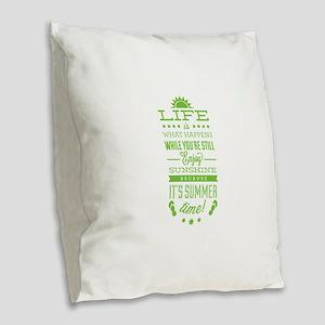 Summer time Burlap Throw Pillow