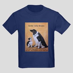 Border Collie Wisdom Kids Dark T-Shirt