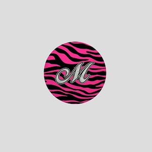 HOT PINK ZEBRA SILVER M Mini Button