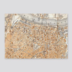 Vintage Map of Antwerp Belgium (190 5'x7'Area Rug