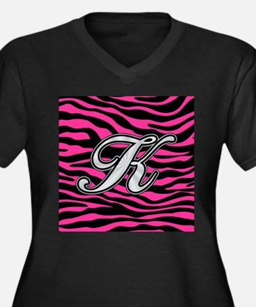 HOT PINK ZEBRA SILVER K Plus Size T-Shirt