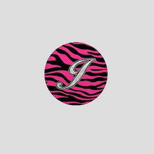 HOT PINK ZEBRA SILVER J Mini Button