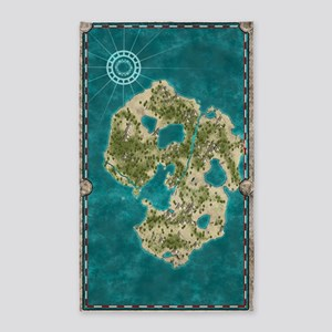 Pirate Adventure Map 3'x5' Area Rug