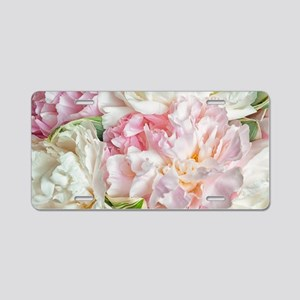 Blooming Peonies Aluminum License Plate