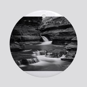 Buttermilk Falls, New York (BW) Ornament (Round)